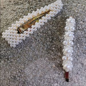 NEW Gold Pearl Statement Hair Pin & Clip SET